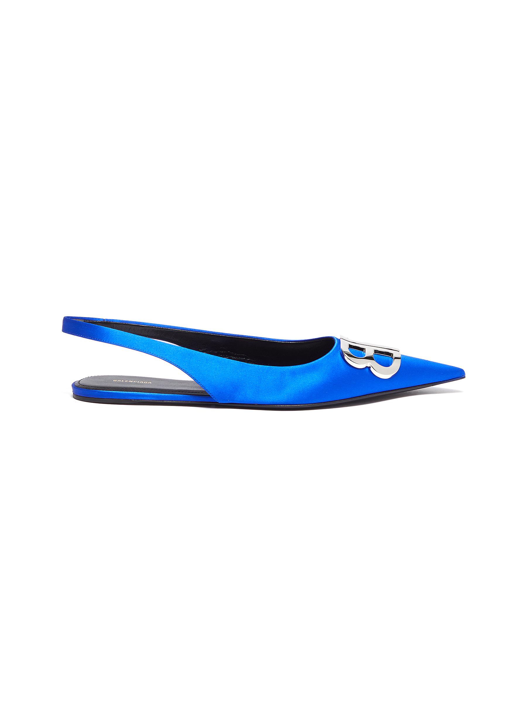 Knife logo plaque satin slingback flats by Balenciaga