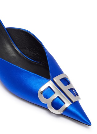 Detail View - Click To Enlarge - BALENCIAGA - 'Knife' logo plaque satin mules