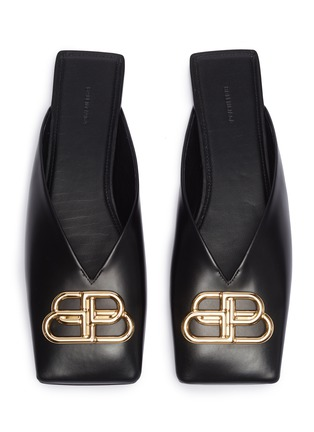 Detail View - Click To Enlarge - BALENCIAGA - 'Double Square' logo plaque leather slides