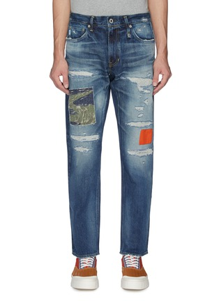 Main View - Click To Enlarge - FDMTL - Colourblock panel ripped jeans
