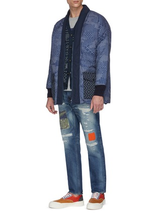 Figure View - Click To Enlarge - FDMTL - Colourblock panel ripped jeans