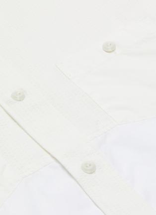 - FDMTL - Mandarin collar chest pocket patchwork shirt