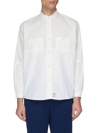 Main View - Click To Enlarge - FDMTL - Mandarin collar chest pocket patchwork shirt