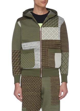 Main View - Click To Enlarge - FDMTL - Sashiko panelled zip hoodie