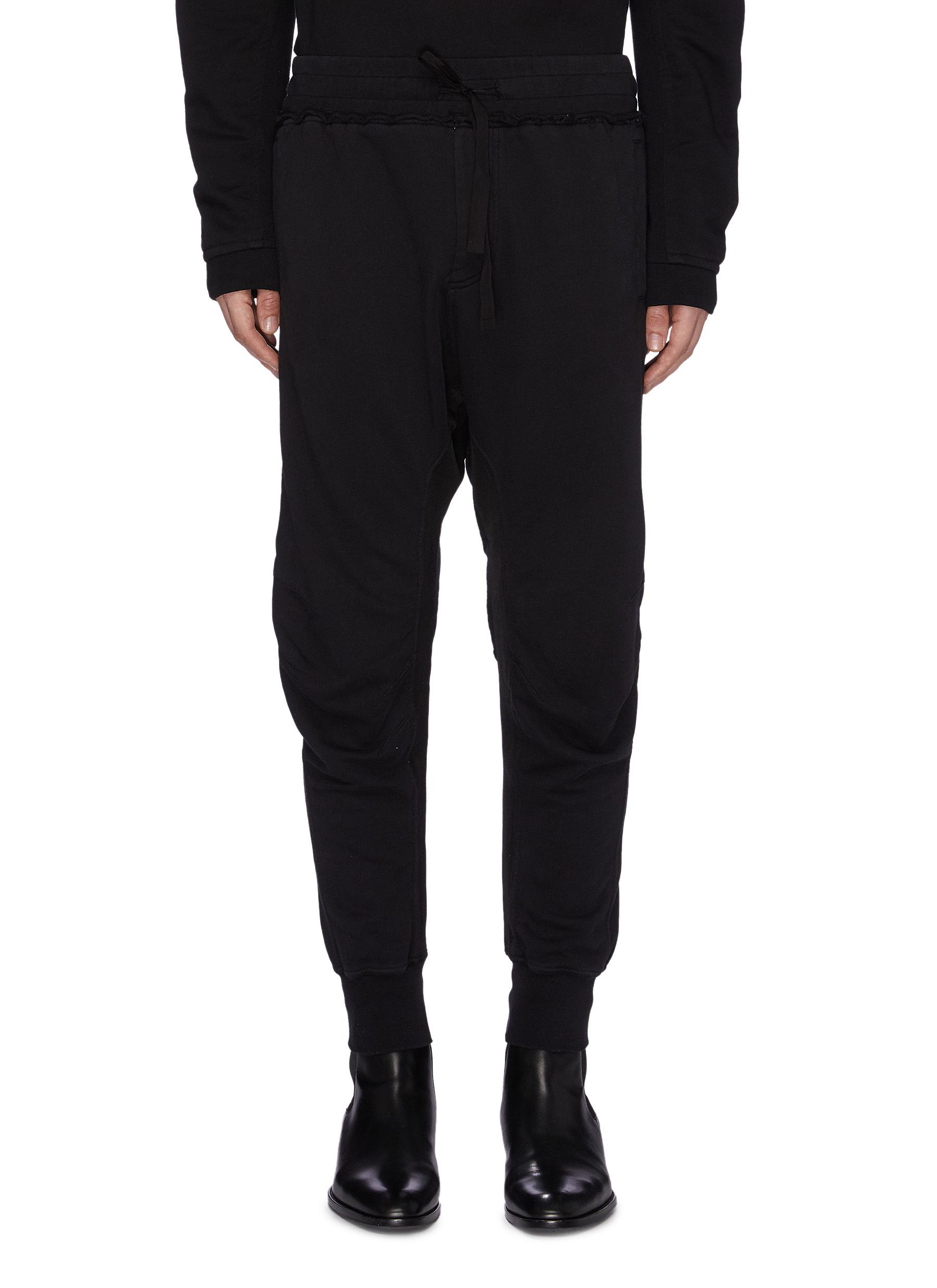 Haider Ackermann Pants 'Moonshape' ribbed panel moto jogging pants