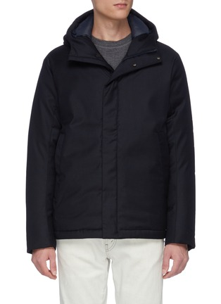 Main View - Click To Enlarge - NORSE PROJECTS - 'Loro Piana' hooded waterproof down wool jacket