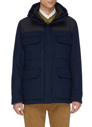 Main View - Click To Enlarge - NORSE PROJECTS - 'Nunk' Thermore Ecodown insulation hooded wool Harris tweed shirt jacket