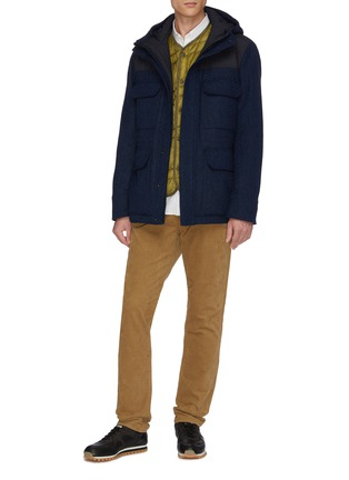 Figure View - Click To Enlarge - NORSE PROJECTS - 'Nunk' Thermore Ecodown insulation hooded wool Harris tweed shirt jacket