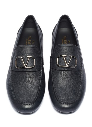Detail View - Click To Enlarge - VALENTINO - 'VLOGO' leather drivers