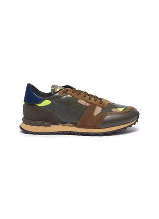 Main View - Click To Enlarge - VALENTINO - Valentino Garavani 'Camouflage Rockrunner' patchwork sneakers