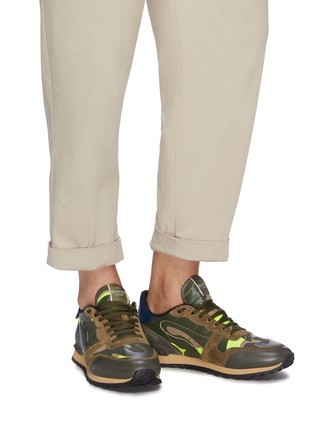 Figure View - Click To Enlarge - VALENTINO - 'Camouflage Rockrunner' patchwork sneakers