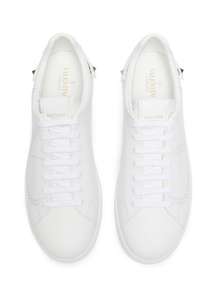 Detail View - Click To Enlarge - VALENTINO - 'VLOGO' perforated leather sneakers