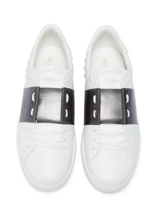 Detail View - Click To Enlarge - VALENTINO - Valentino Garavani 'Open' metallic colourblocked leather sneakers