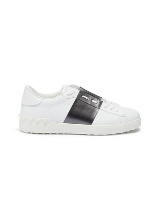 Main View - Click To Enlarge - VALENTINO - 'Open' metallic colourblocked leather sneakers