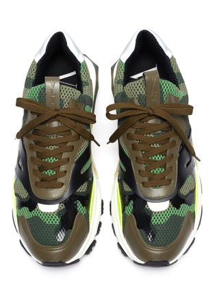 Detail View - Click To Enlarge - VALENTINO - 'Bounce' camouflage print patchwork mesh sneakers