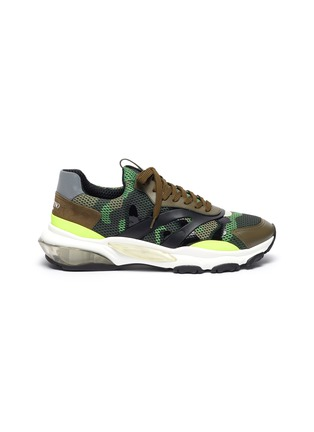 Main View - Click To Enlarge - VALENTINO - 'Bounce' camouflage print patchwork mesh sneakers