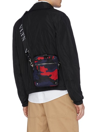 Figure View - Click To Enlarge - VALENTINO - Valentino Garavani 'VLTN' logo shoulder strap camouflage print crossbody bag