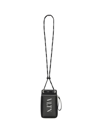 Main View - Click To Enlarge - VALENTINO - VLTN lanyard leather zip wallet