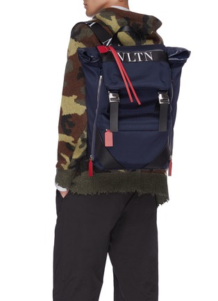 Figure View - Click To Enlarge - VALENTINO - Logo print backpack