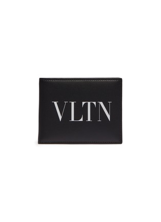 Main View - Click To Enlarge - VALENTINO - Logo print leather clip bifold wallet