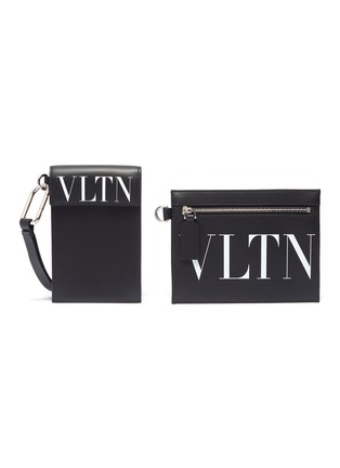 Main View - Click To Enlarge - VALENTINO - Valentino Garavani 'VLTN' logo print leather neck pouch set