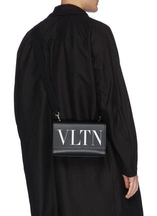 Front View - Click To Enlarge - VALENTINO - Valentino Garavani 'VLTN' logo print leather convertible belt bag