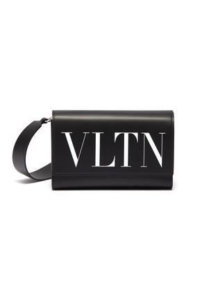 Main View - Click To Enlarge - VALENTINO - Valentino Garavani 'VLTN' logo print leather convertible belt bag