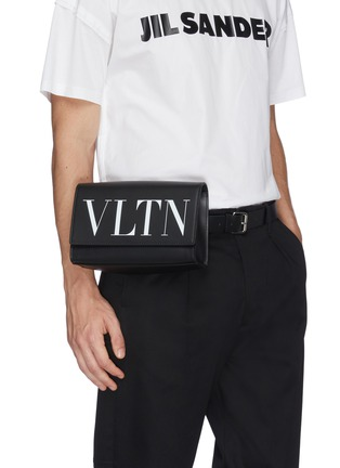 Figure View - Click To Enlarge - VALENTINO - 'VLTN' logo print leather convertible belt bag