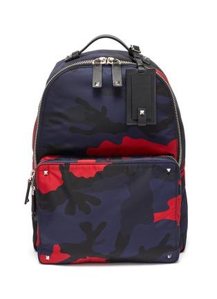 Main View - Click To Enlarge - VALENTINO - Valentino Garavani Logo strap camouflage print backpack