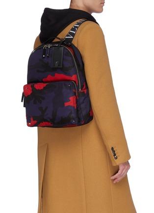 Figure View - Click To Enlarge - VALENTINO - Valentino Garavani Logo strap camouflage print backpack