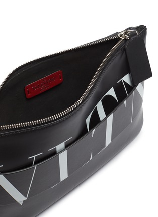 Detail View - Click To Enlarge - VALENTINO - Layered logo print leather crossbody pouch