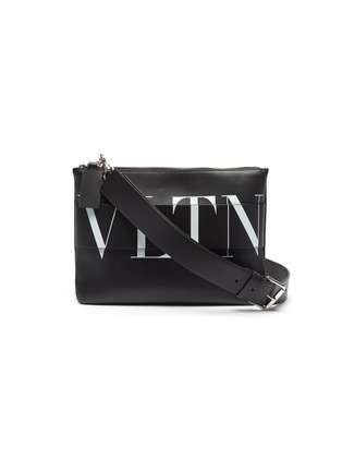 Main View - Click To Enlarge - VALENTINO - Layered logo print leather crossbody pouch