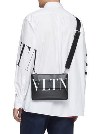 Figure View - Click To Enlarge - VALENTINO - Layered logo print leather crossbody pouch