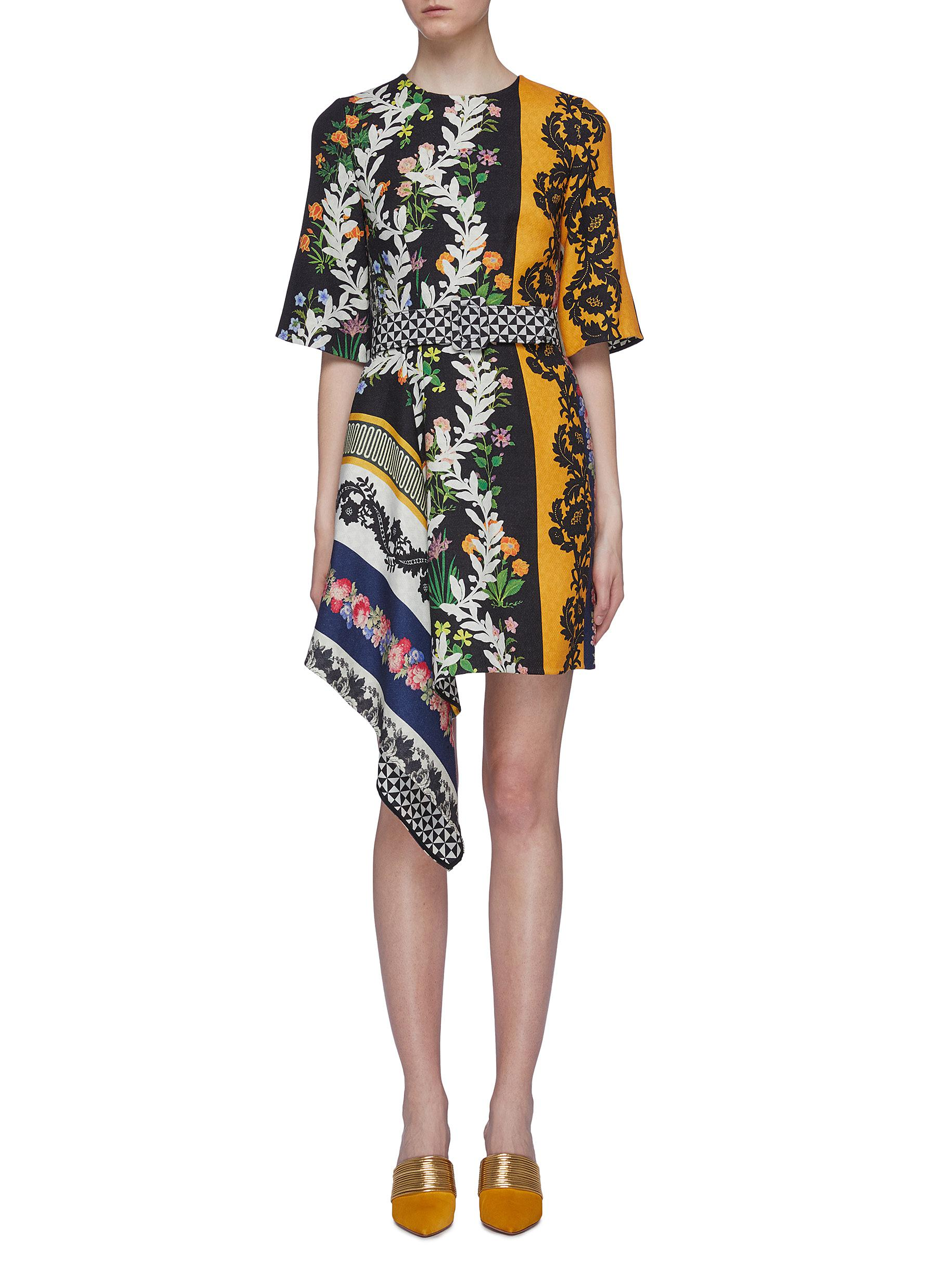 Belted mix floral patchwork asymmetric drape wool dress by Oscar De La Renta