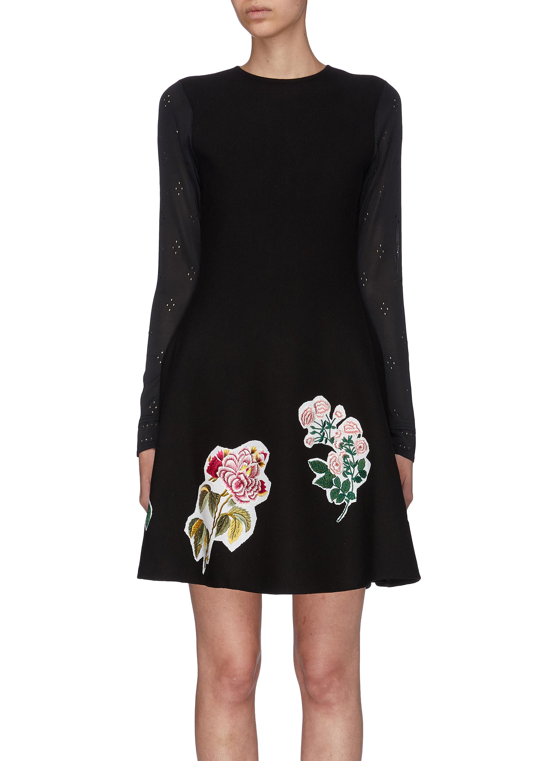 Broderie anglaise sleeve floral appliqué flared dress by Oscar De La Renta