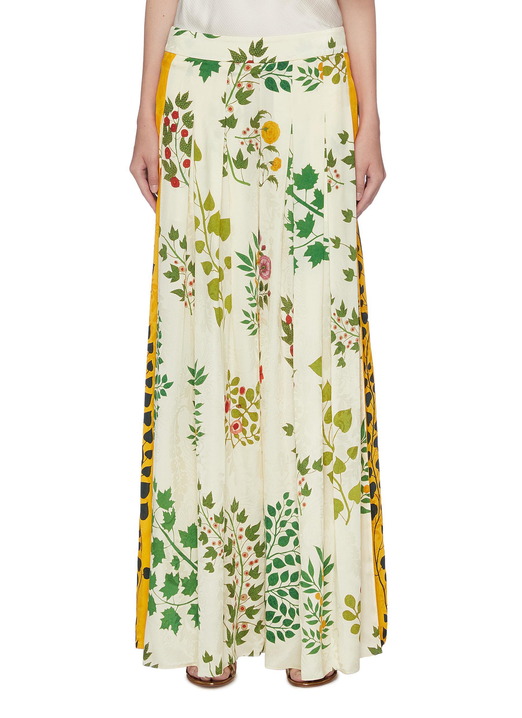 Colourblock outseam botanical print silk wide leg pants by Oscar De La Renta