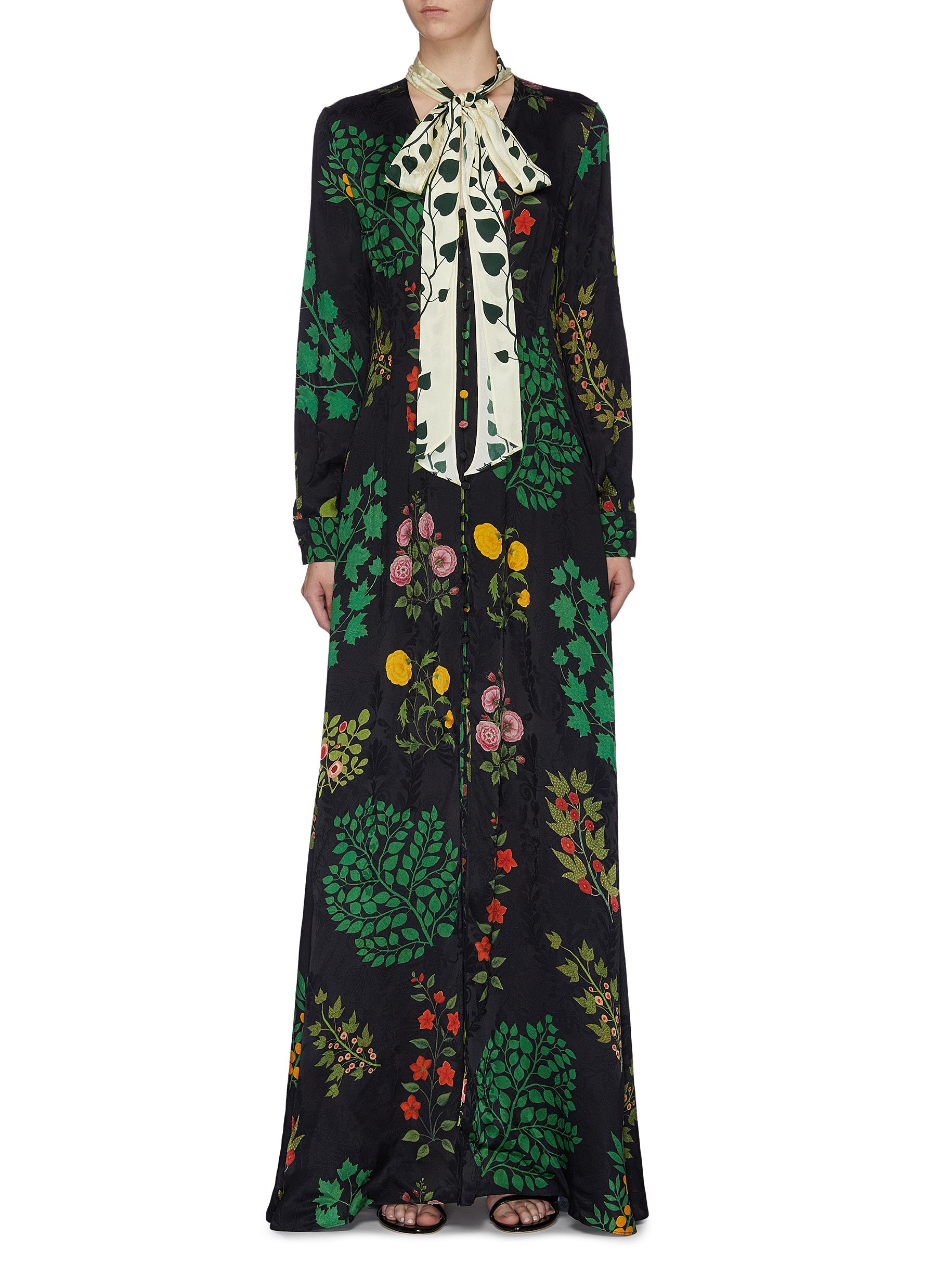 Colourblock sash tie neck botanical print silk dress by Oscar De La Renta