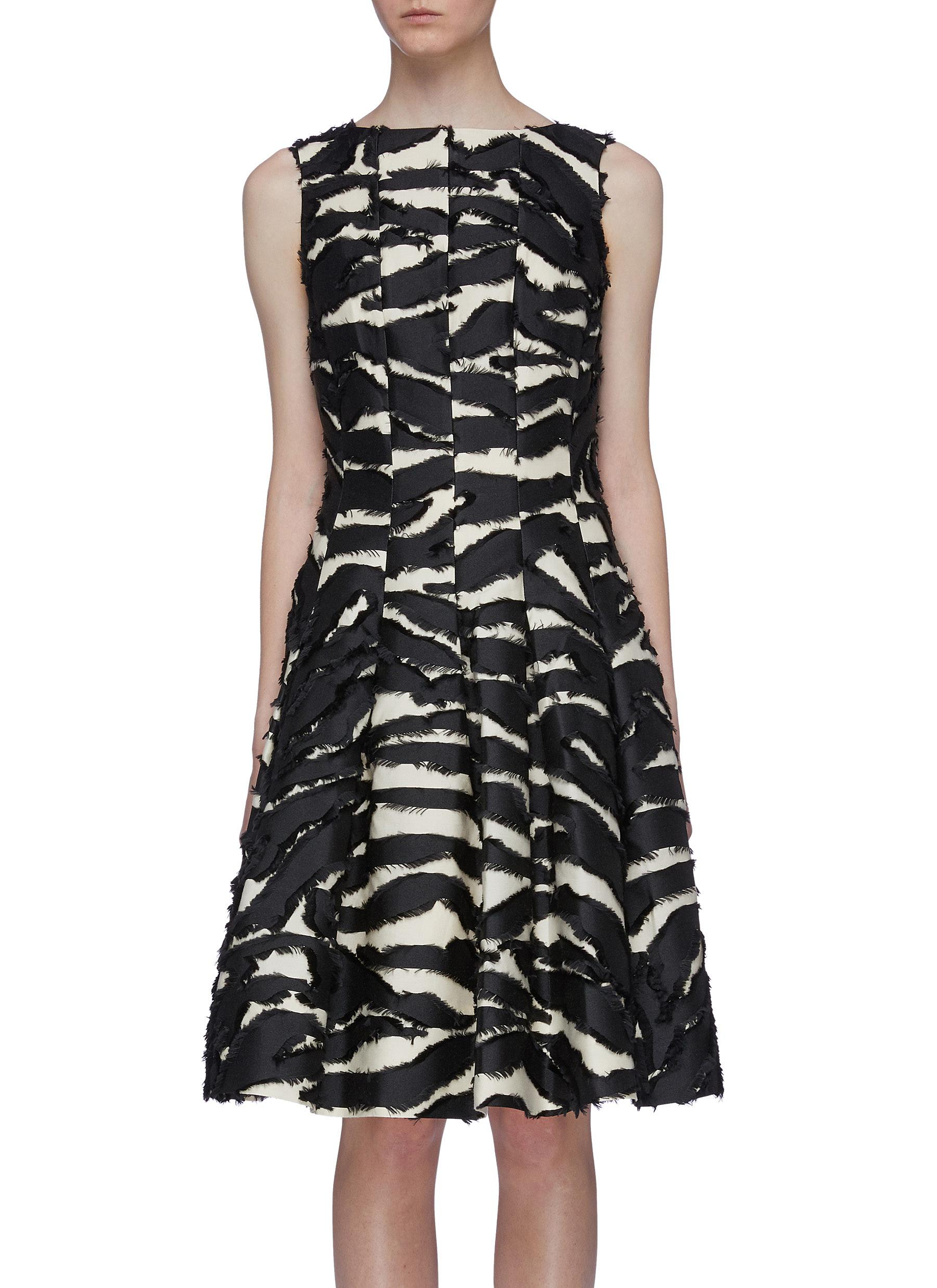 Zebra fil coupé pleated sleeveless dress by Oscar De La Renta