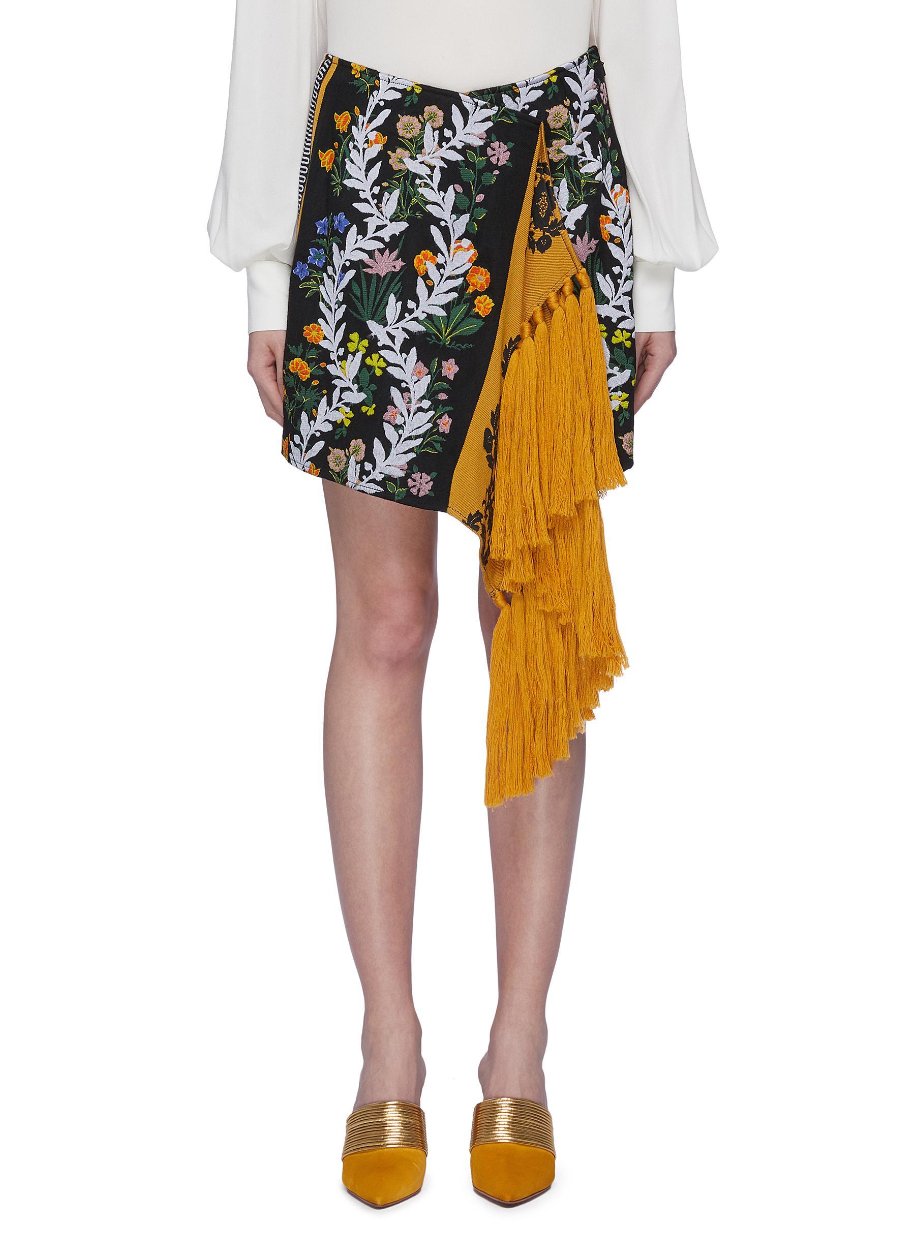 Tassel fringe drape mix floral patchwork skirt by Oscar De La Renta
