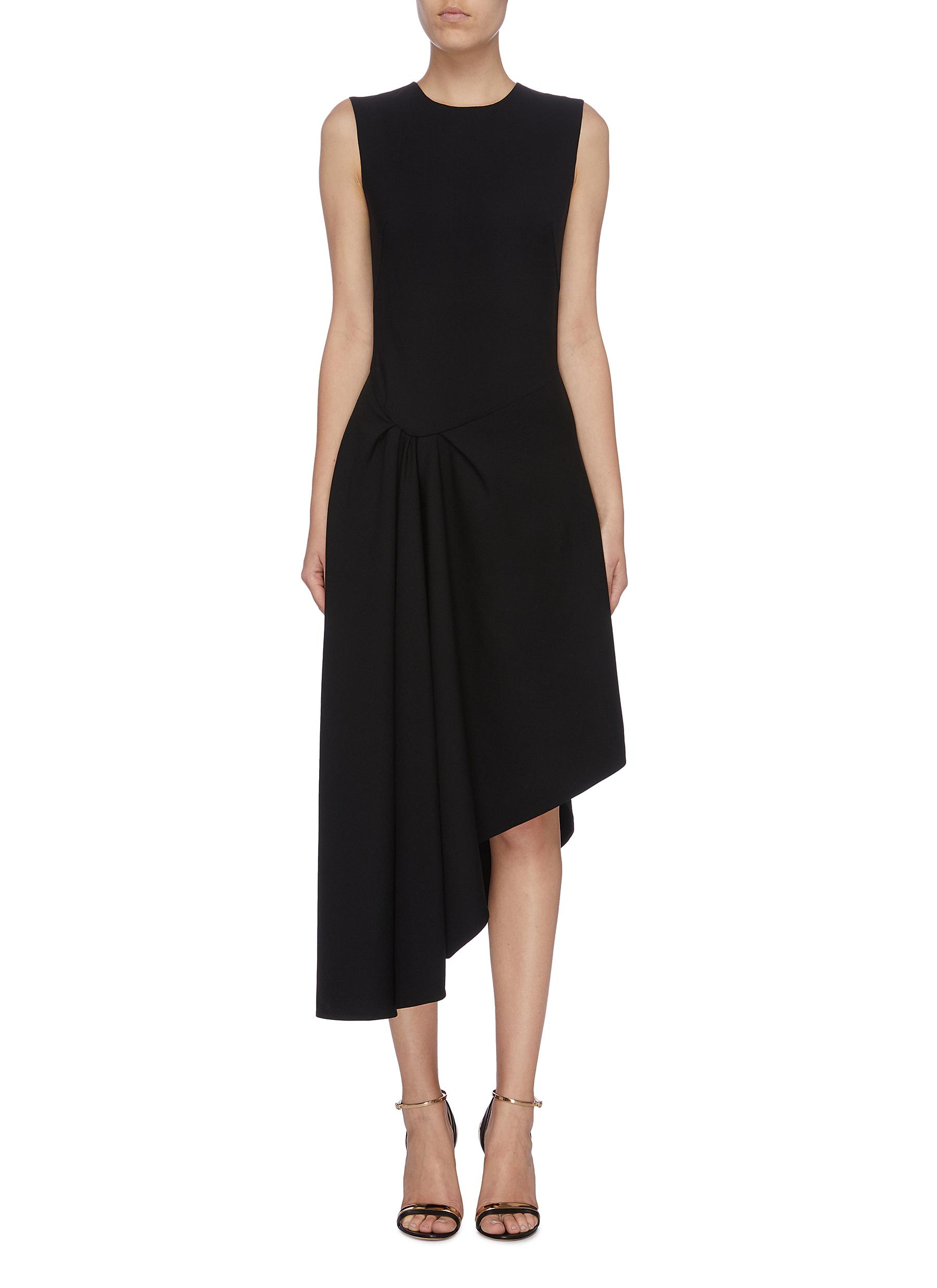 Gathered side asymmetric sleeveless dress by Oscar De La Renta