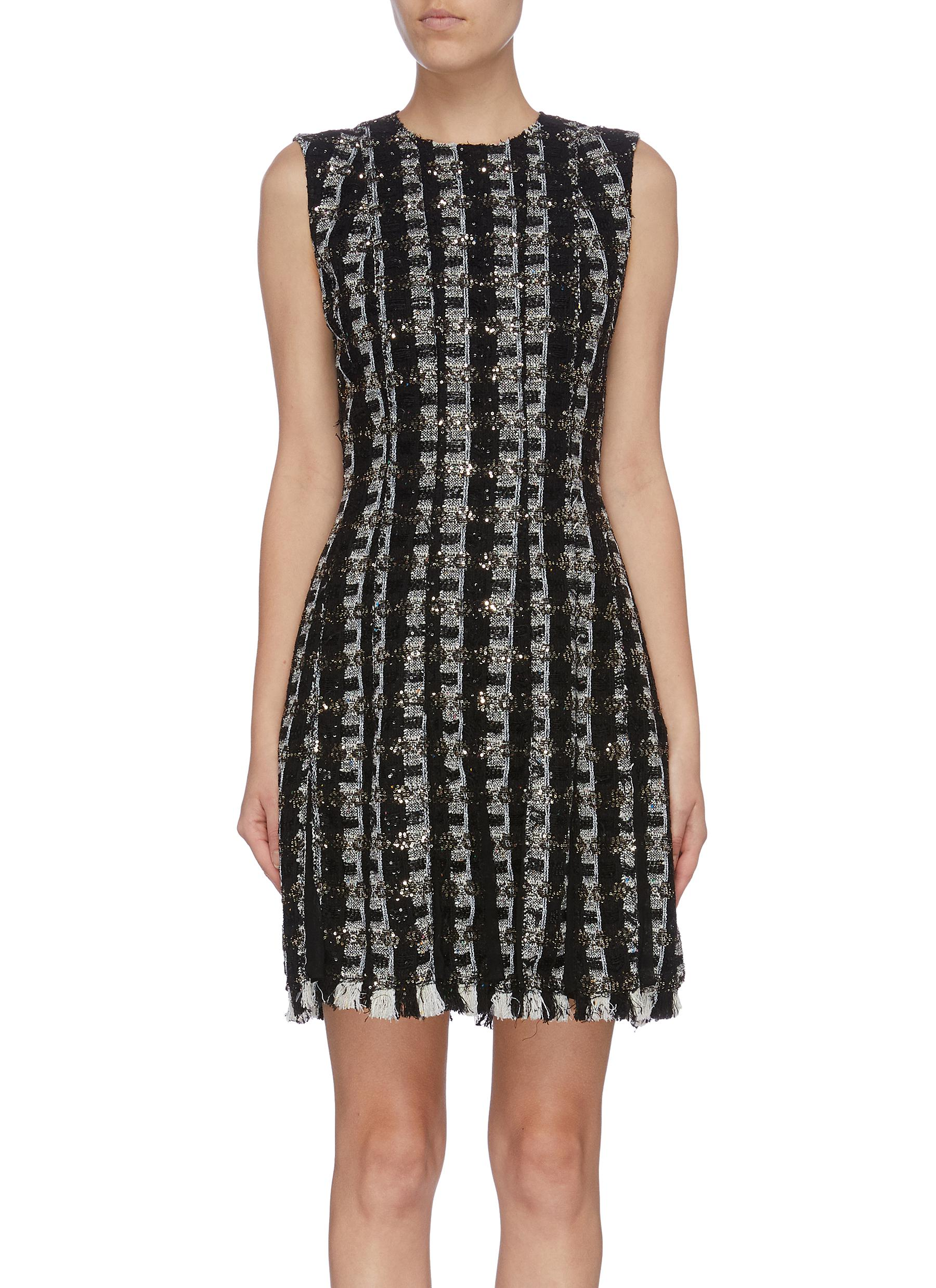 Pleated frayed hem sequin stripe tweed dress by Oscar De La Renta