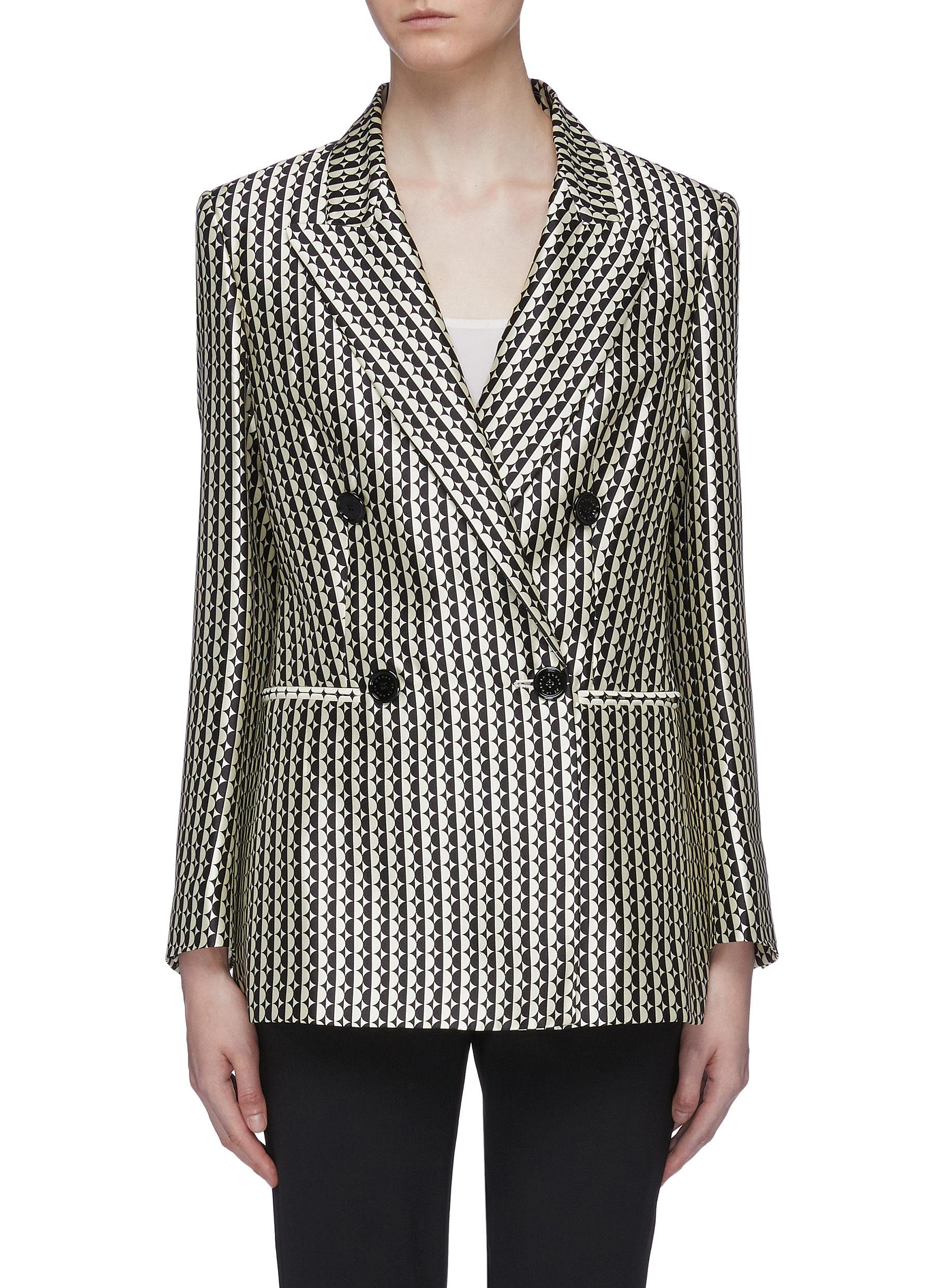 Circle stripe silk-cotton double breasted blazer by Oscar De La Renta