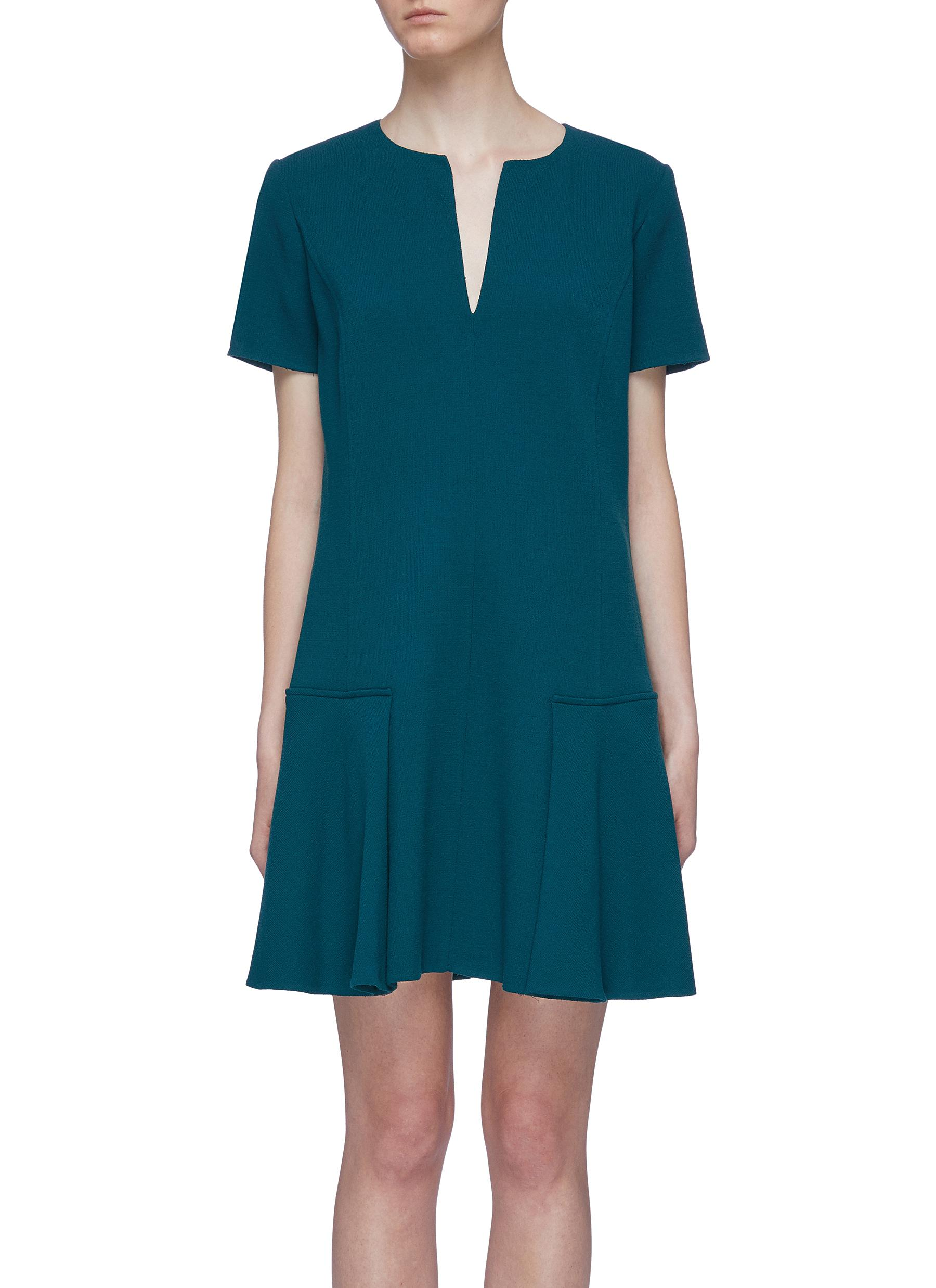 Notched collar virgin wool blend crepe peplum dress by Oscar De La Renta