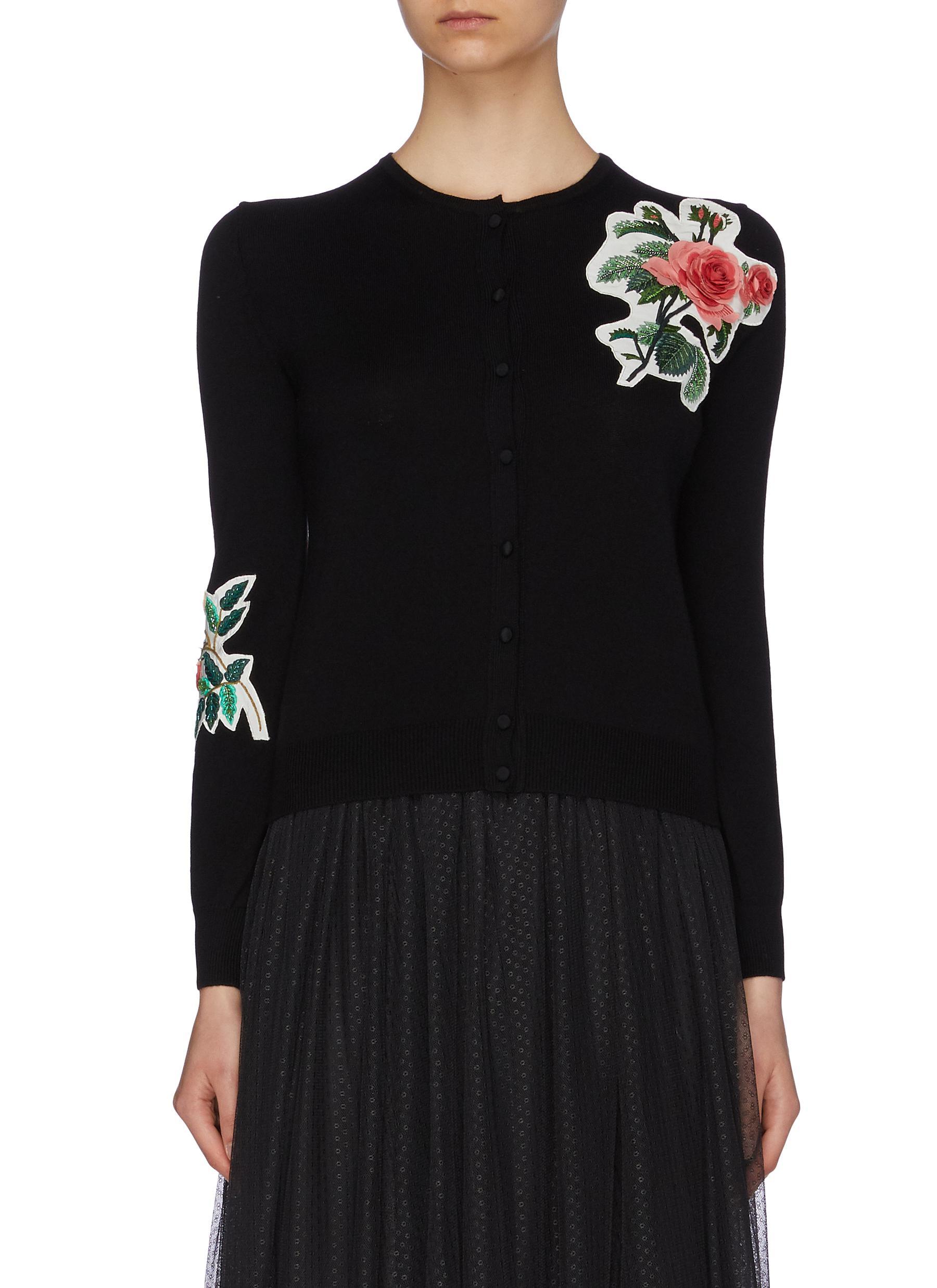 Embellished floral patch Merino wool cardigan by Oscar De La Renta