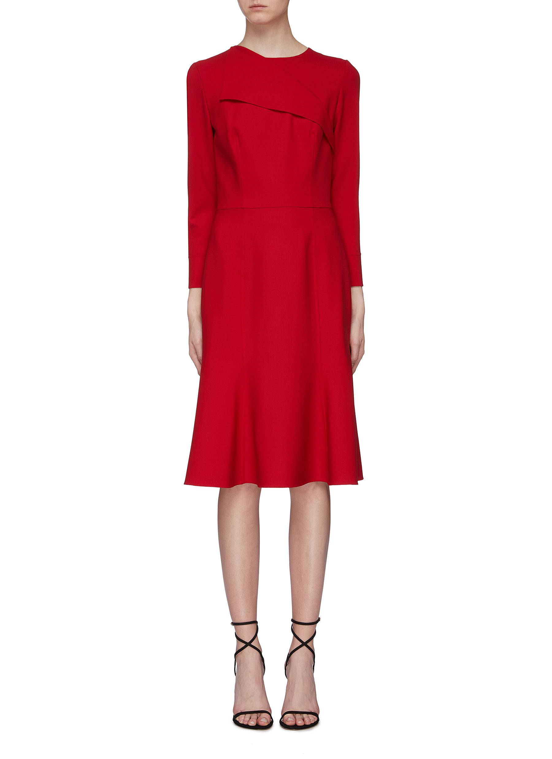 Foldover collar virgin wool blend dress by Oscar De La Renta