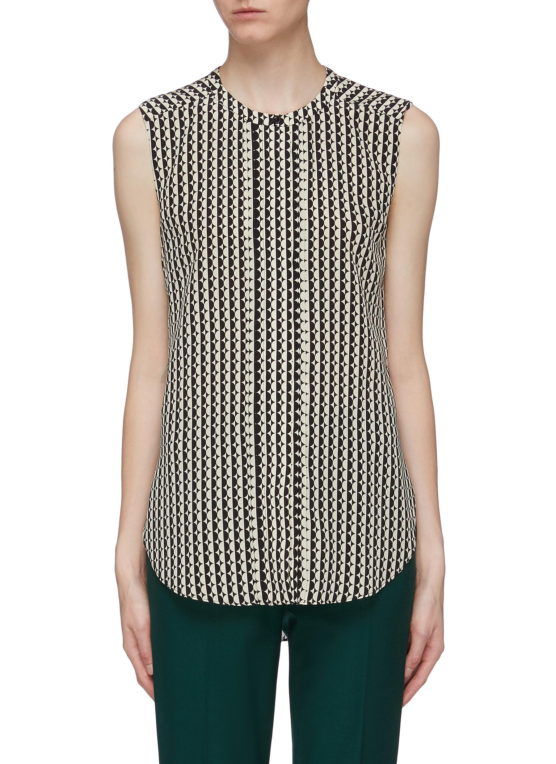 Circle stripe print silk crepe sleeveless blouse by Oscar De La Renta