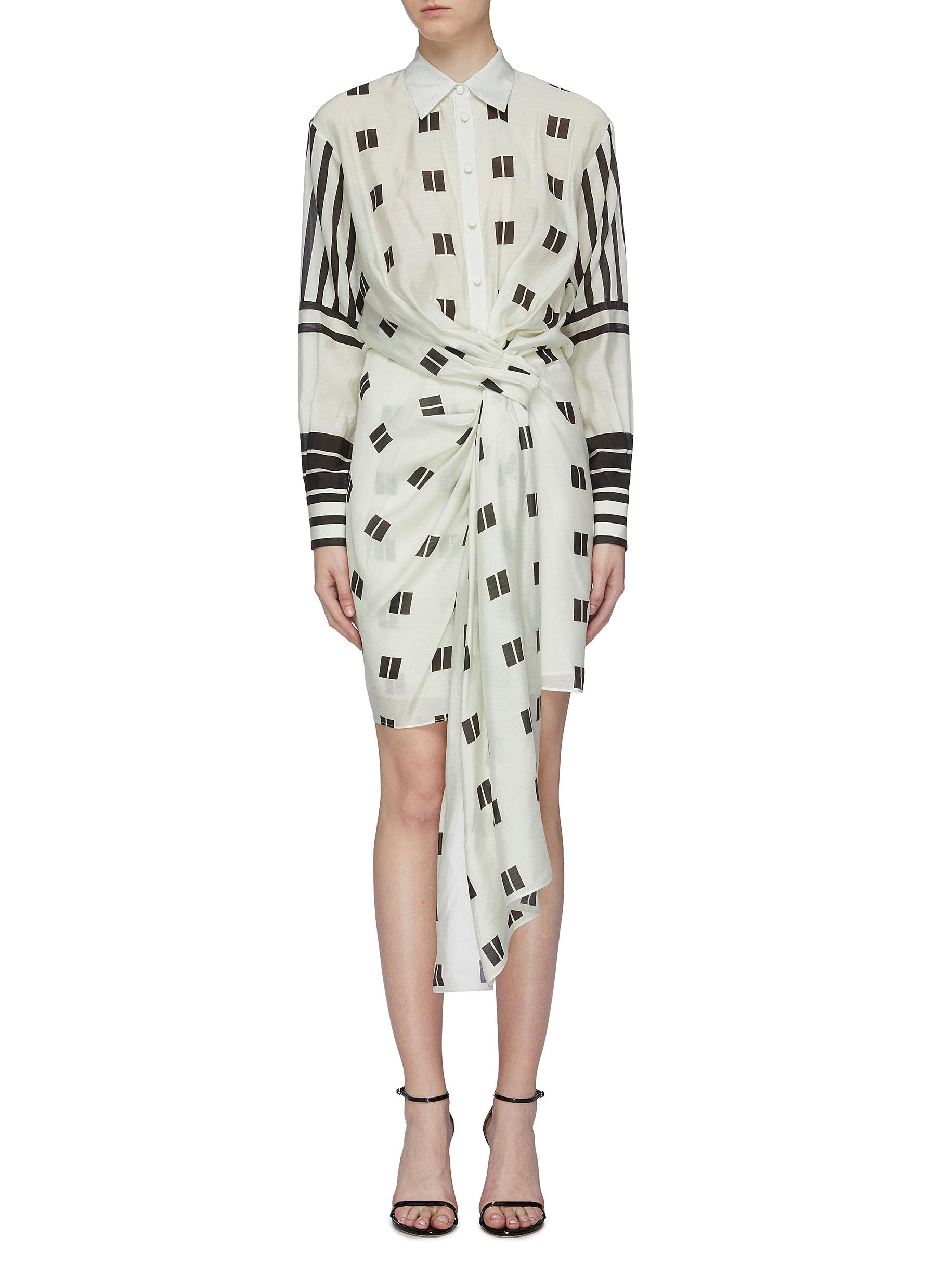 Knot front drape geometric stripe print shirt dress by Oscar De La Renta