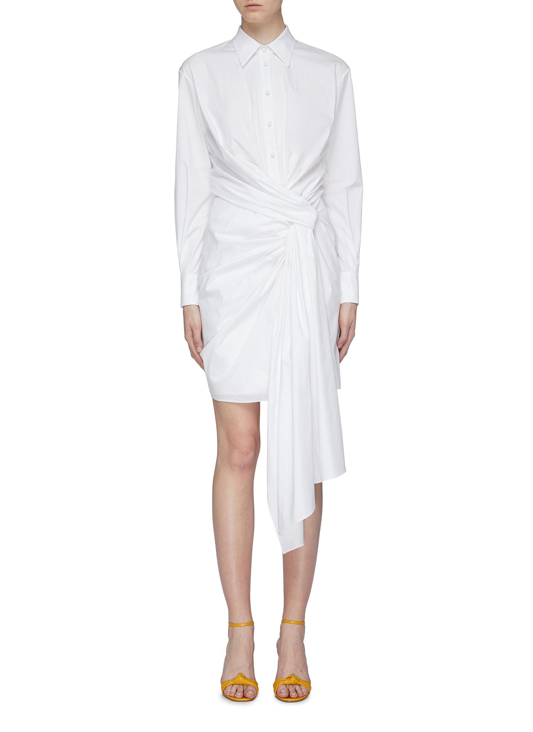 Knot front drape shirt dress by Oscar De La Renta