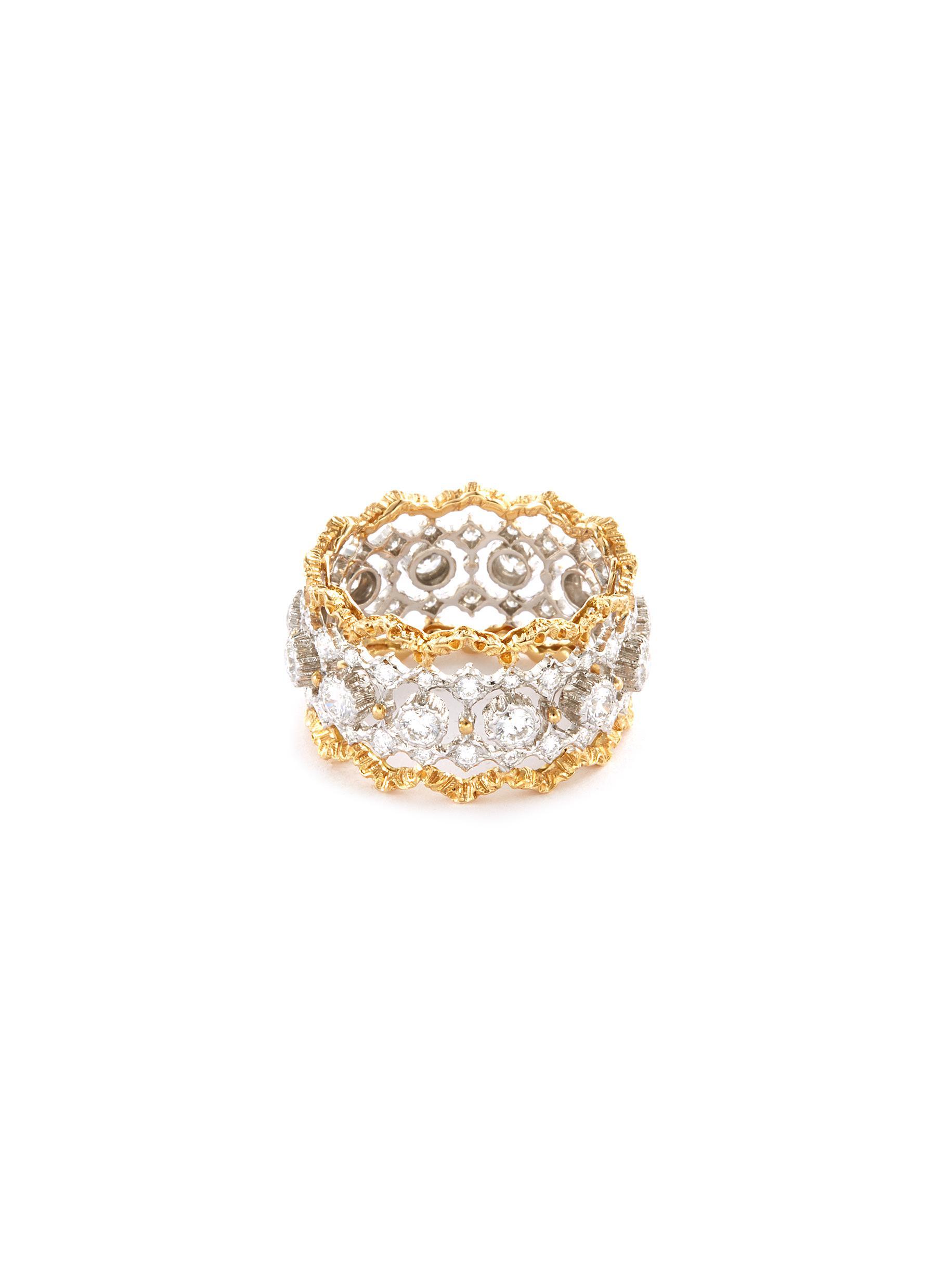 'Rombi Eternelle' diamond gold openwork ring