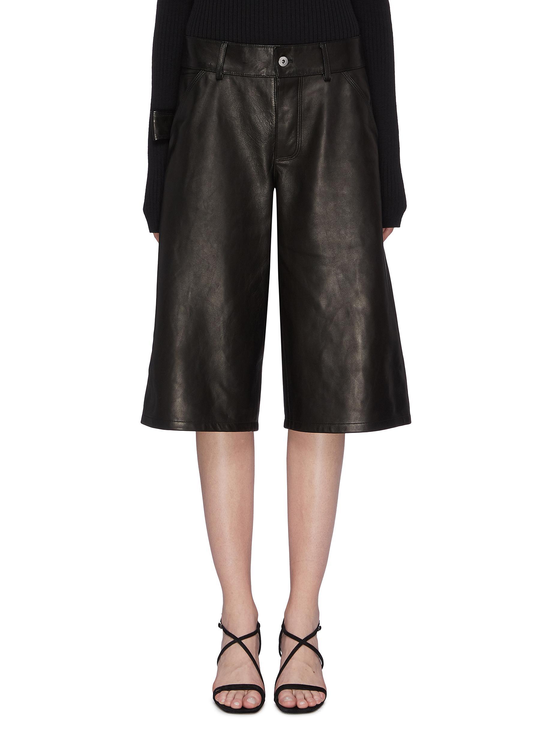 Buy Bottega Veneta Pants & Shorts Leather cargo culottes